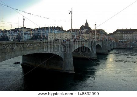 1 december 2007-basel-suisse- bridge over the Rhine in December in baselsuisse