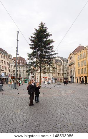 1 december 2007-basel-suisse- basel main square during the Christmas period