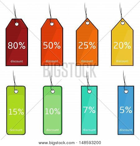 Vector Set Of Cartoon Discount Tags