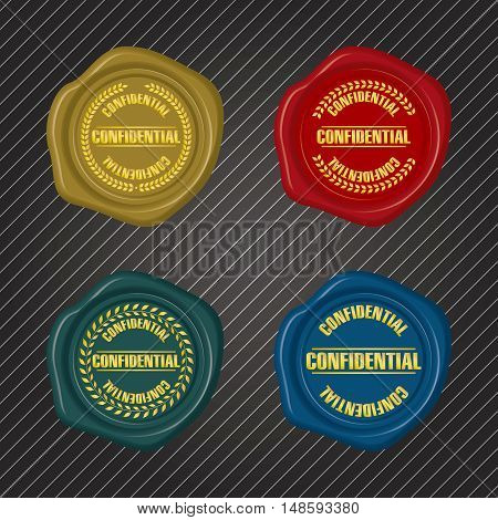 Different color Confidential Wax Seals with Laurel Wreath Collection
