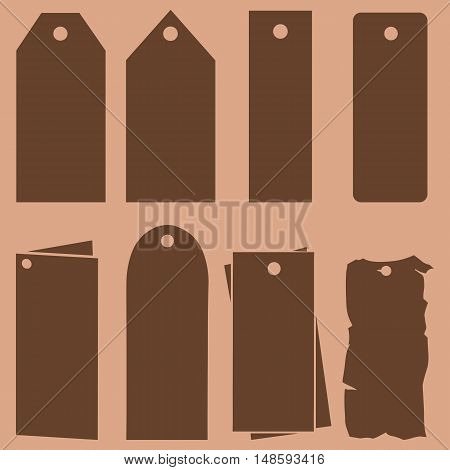 Vector Set Of Blank Tag Silhouettes.