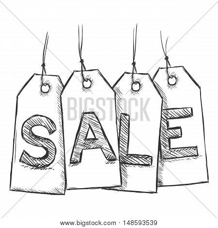 Vector Sketch Sales Tags With Letters S, A, L, E.