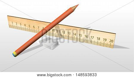Pencil lying on a wooden ruler next to the eraser