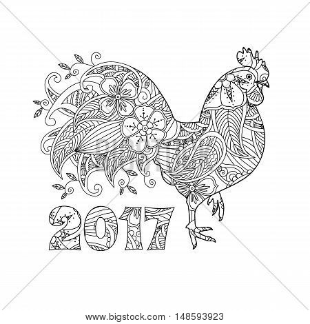 Stylish cock, or rooster and numbers 2017 isolated on white background. Symbol of New Year. Zentangle inspired style. Zen graphic. Image for calendar, card, coloring book. Art vector illustration