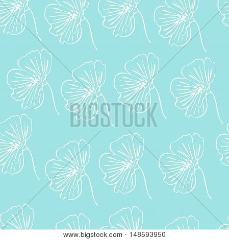 Flower doodle seamless pattern drawn in outline for coloring or other needs