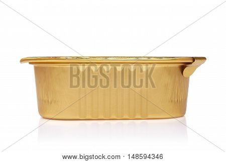 tin containers without labels canned food on a white background with reflection