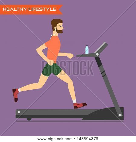 Young man running on treadmill. Healthy way of life exercise and run. Vector flat illustration.