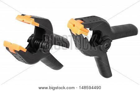 Black plastic clip clamp equipment for fasteners and fixing isolated on white
