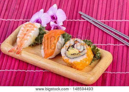 Japanese food sushi set , sushi with chopsticks