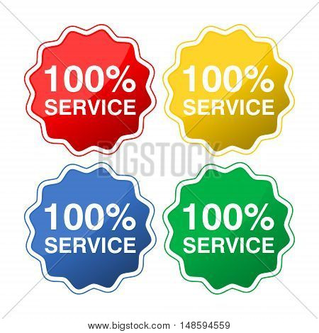 Colored buttons with text 100% service set on white background