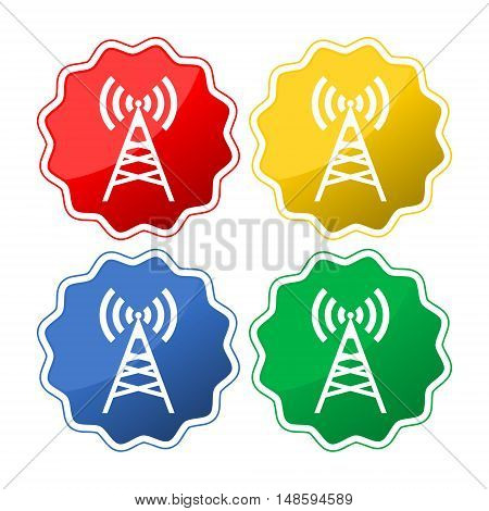 Set of four colored icons with antenna