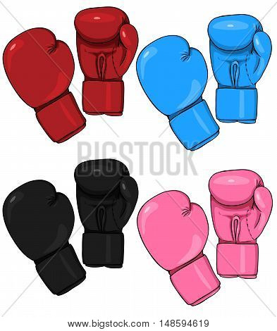 Vector Set Of Cartoon Boxing Gloves