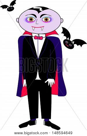 child vampire bats, dressed in coat and bow tie on white background