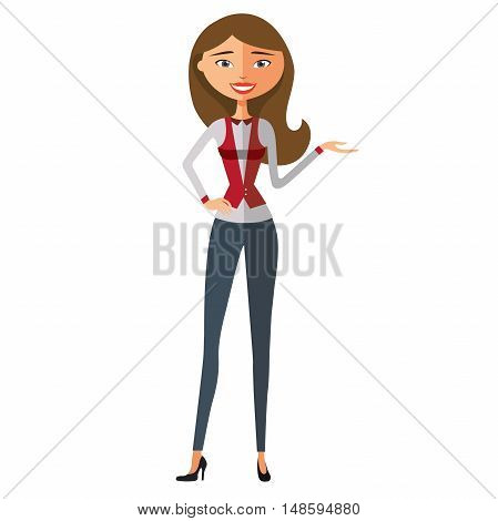Executive smiling businesswoman presenting something. Young girl presents something. Vector.