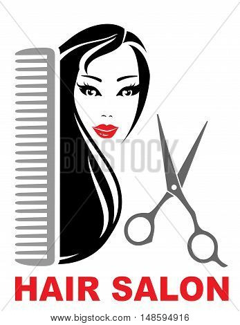 Hair Salon Icon With Girl, Scissors And Comb