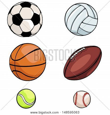 Vector Set Of Sports Balls: Football, Volleyball, Basketball, Rugby, Tennis, Baseball