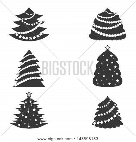 Set with Christmas Trees Decorated with Garlands. Minimalistic Flat Style. Ideal for Web and Apps. Vector Flat Icons