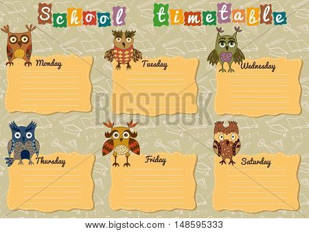 School timetable with colorful owls for children.