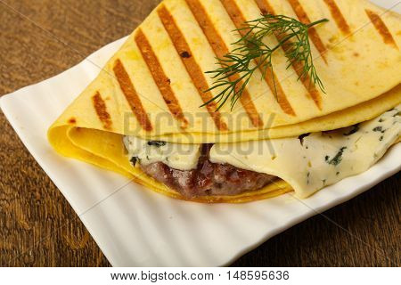 Tortilla With Grilled Burger Cutlet
