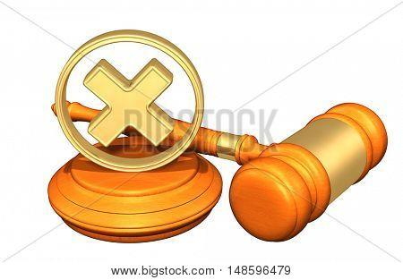 Denied Legal Gavel Concept 3D Illustration