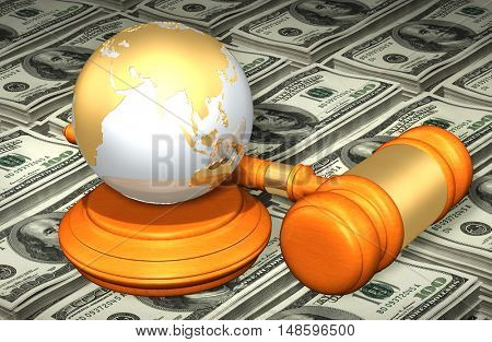 Earth Globe Legal Gavel Concept 3D Illustration