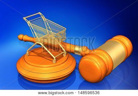 Shopping Cart Legal Gavel Concept 3D Illustration