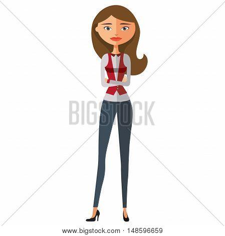 Flat business woman. Calm young girl standing. Serious cute business girl. Vector.