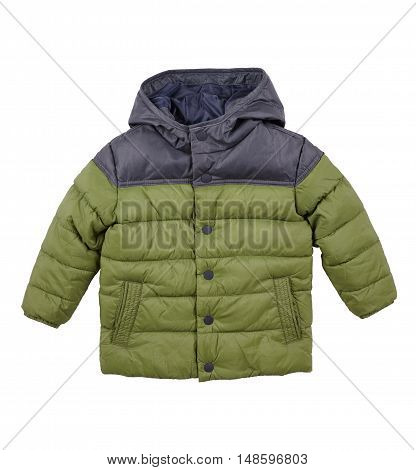 warm down jacket children's green jacket isolated on white