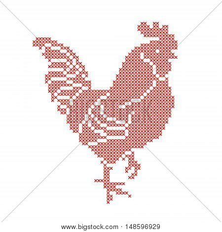 Red Rooster embroidered by cross isolated on white background. Symbol of the New Year 2017. Art vector illustration
