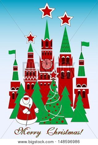 Holiday card with Russian Kremlin in soviet retro style for greeting with New Year and Christmas. Vector illustration