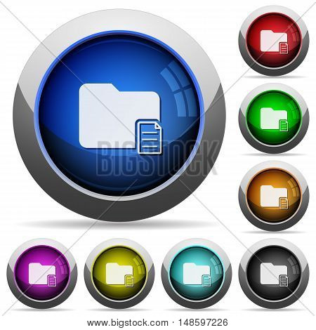 Set of round glossy folder properties buttons. Arranged layer structure.