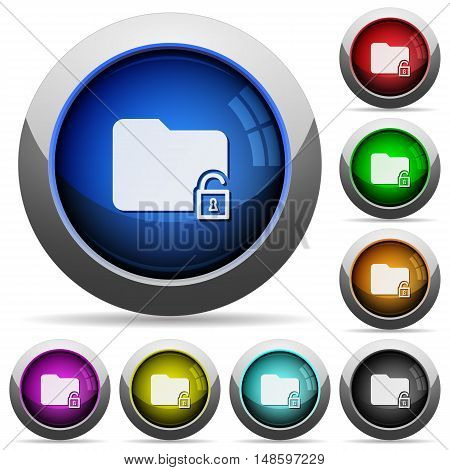 Set of round glossy unlock folder buttons. Arranged layer structure.