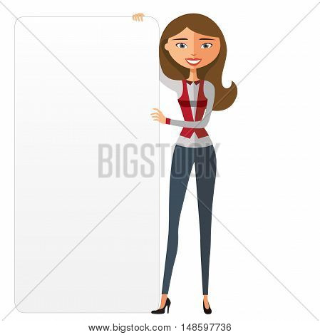 Confident young woman holding board cutout. Confident young woman holding board.