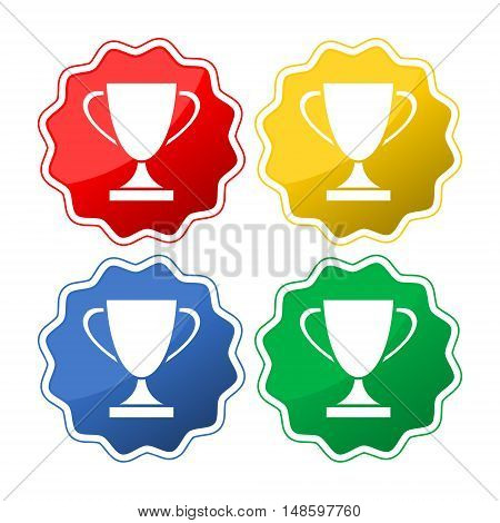 Winners cup. Set of different buttons on white background
