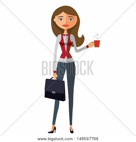 Cheerful business young girl holding cup. Glamorous young girl with cup. Business woman. Beautiful model. Vector
