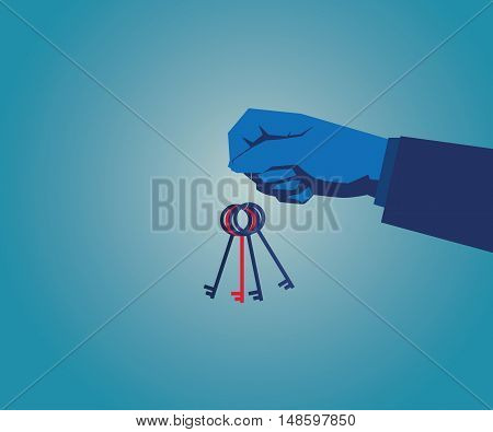 Key. Businesswomen Holding Key, Vector Flat Design