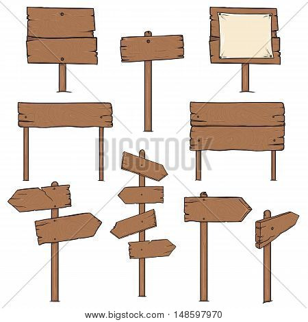 Vector Set Of Cartoon Signposts