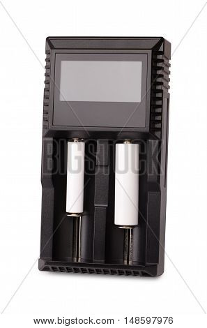 universal battery charger two batteries are charged isolated on white