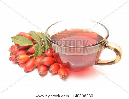 rose hip tea with rose hip fruits
