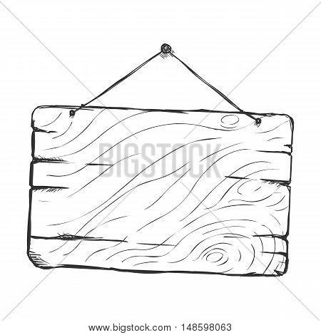 Vector Single Sketch Hanging Signboard
