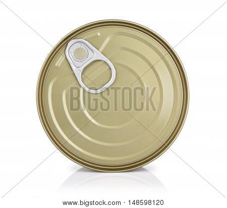 tin containers without labels top view canned food on a white background with reflection
