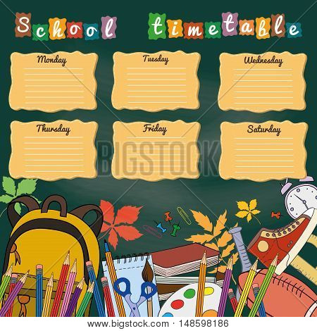 School timetable with school supplies. Vector illustration.