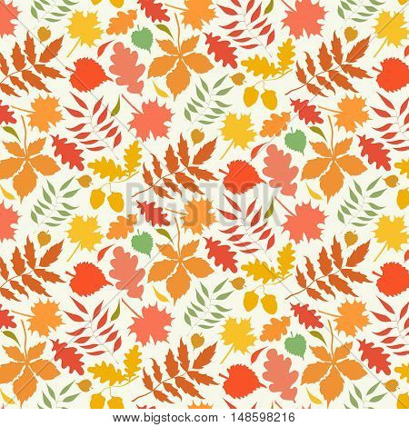 Colorful pattern with autumn leaves. Vector illustration.