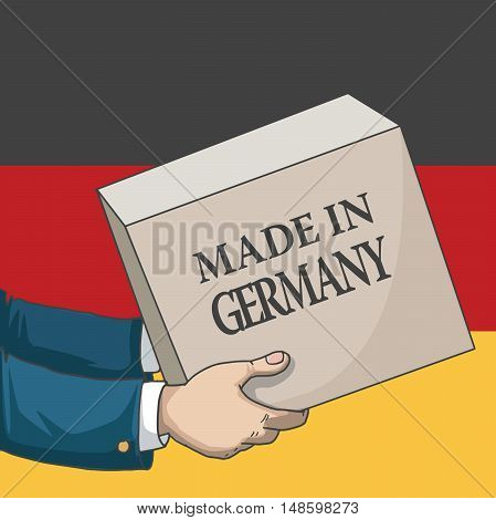 Cartoon, hand drawn human hands, holding a box, with made in Germany sign, and a flag background, vector illustration