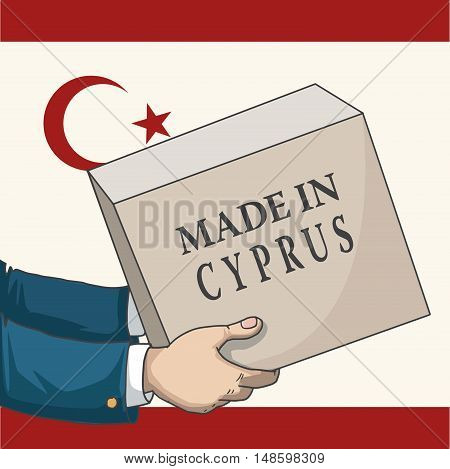 Cartoon, hand drawn human hands, holding a box, with made in Cyprus sign, and a flag background, vector illustration