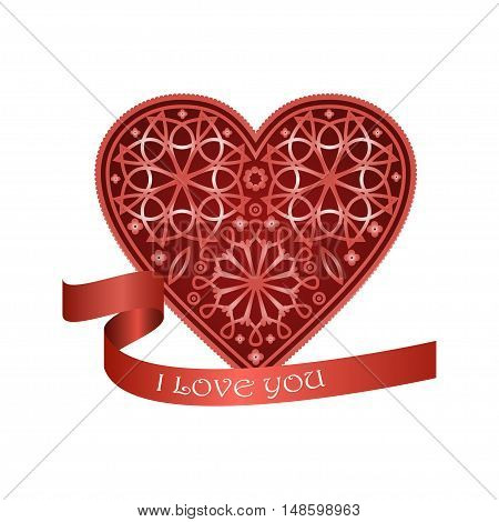 Ornate heart in Victorian style. Vector illustration