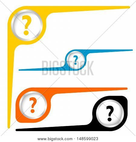 Set of three objects and question mark