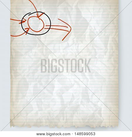 Vector crumpled lined paper and hand written infographics