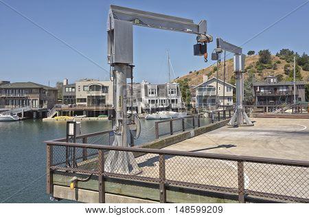 Brickyard Cove marina heavy duty boat lifters crane Richmond California.