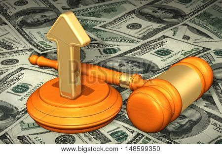 Direction Arrow Legal Gavel Concept 3D Illustration